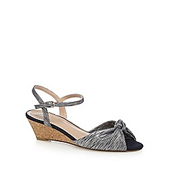 The Collection - Grey 'Claudia' mid wedge heel ankle strap sandals