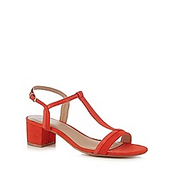 The Collection - Orange patent mid block heel T-bar sandals