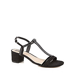 The Collection - Black patent mid block heel T-bar sandals
