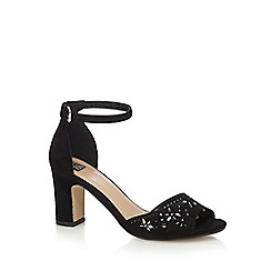 The Collection - Black high block heel ankle strap sandals