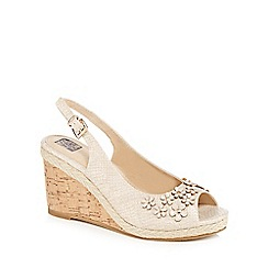 The Collection - Natural 'Camellia' high wedge heel slingbacks