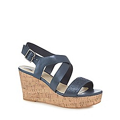 The Collection - Navy diamante high heel wedge sandals