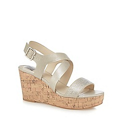 The Collection - Light gold diamante embellished high wedge sandals