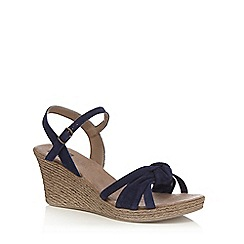 The Collection - Navy suede 'Carmen' mid wedge heel ankle strap sandals