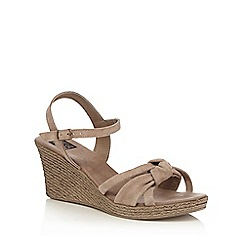 The Collection - Taupe suede 'Carmen' mid wedge heel ankle strap sandals