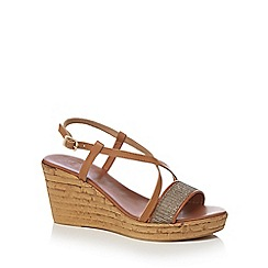 The Collection - Tan 'Candy' leather high wedge heel sandals