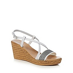 The Collection - White 'Candy' leather high wedge heel sandals