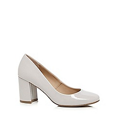 The Collection - Grey patent high block heel court shoes