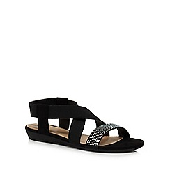 The Collection - Black diamante 'Cathy' ankle strap sandals