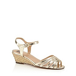 The Collection - Gold µCharmaineð mid wedge heel ankle strap sandals