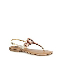 The Collection - Gold leather diamante T-bar sandals