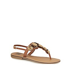 The Collection - Tan leather diamante T-bar sandals