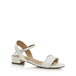 The Collection - White 'Caiden' mid block heel ankle strap sandals