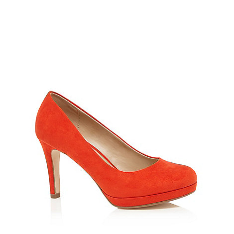 The Collection - Orange suedette high heel wide fit court shoes