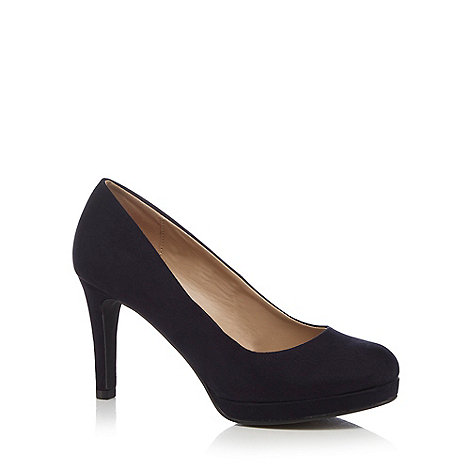 The Collection - Navy high wide fit court shoes