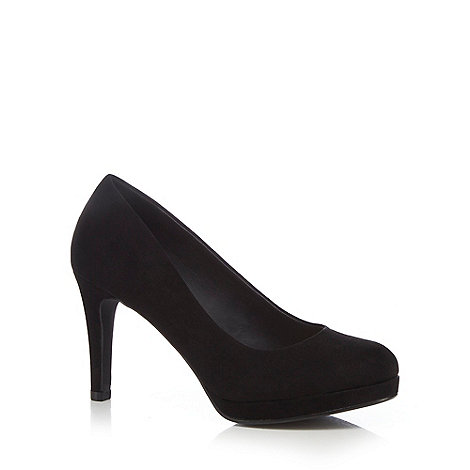 The Collection - Black high wide fit court shoes