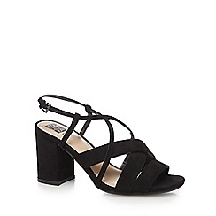 The Collection - Black 'Cami' high heel wide fit ankle strap sandals