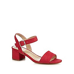 The Collection - Pink suedette 'Cadee' mid block heel ankle strap sandals