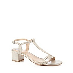 The Collection - Silver metallic mid block heel T-bar sandals