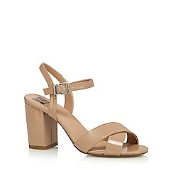The Collection - Beige patent 'Clover' high block heel sandals