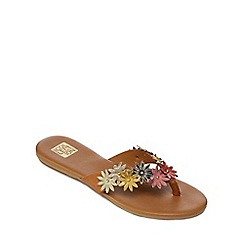 The Collection - Tan leather 'Carla' flip flops