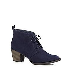 Mantaray - Navy high block heel ankle boots