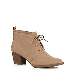 Mantaray - Light tan high block heel ankle boots