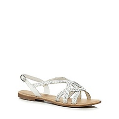 Mantaray - White leather 'Molly' slingback sandals