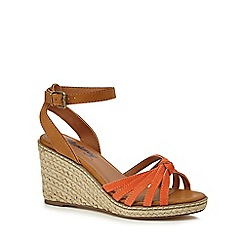 Mantaray - Orange 'Maria' high wedge heel espadrille sandals
