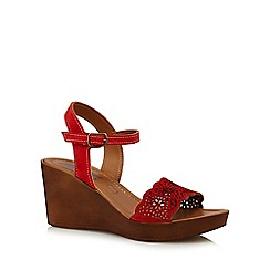 Mantaray - Red 'Martina' high wedge heel ankle strap sandals