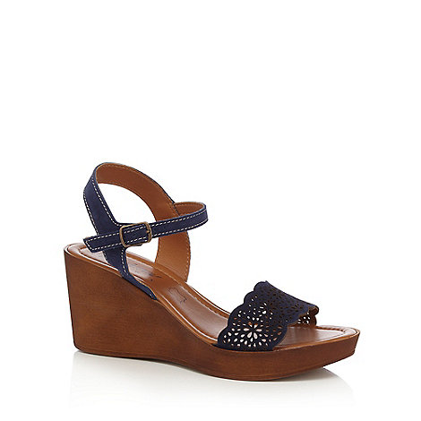 Mantaray - Navy +Martina+ high wedge ankle strap sandals