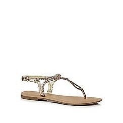 Mantaray - Gold leather 'Marissa' T-bar sandals