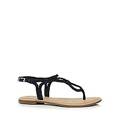 Mantaray - Navy suede 'Marissa' T-bar sandals