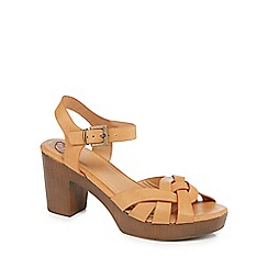 Mantaray - Tan 'Malika' high block heel ankle strap sandals