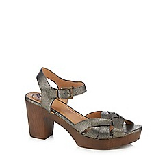 Mantaray - Metallic 'Malika' high block heel ankle strap sandals