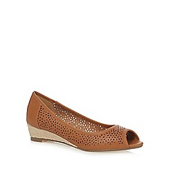 Mantaray - Brown mid wedge heel peep toe shoes