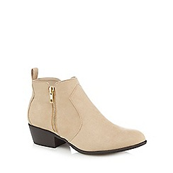 Red Herring - Beige mid block heel ankle boots