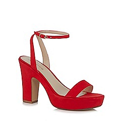 Red Herring - Red 'Hanson' high block heel ankle strap sandals
