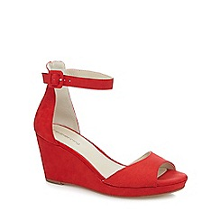 Red Herring - Red suedette high wegde heel ankle strap sandals