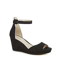 Red Herring - Black textured peep toe wedge sandals