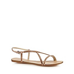 Red Herring - Rose gold diamante T-bar sandals