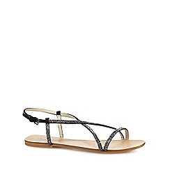 Red Herring - Black diamante flat sandals