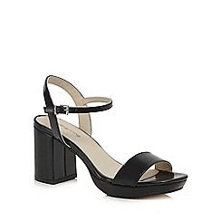 Red Herring - Black patent high block heel ankle strap sandals