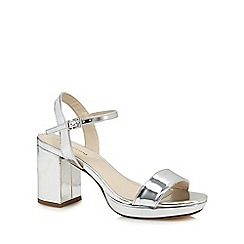 Red Herring - Silver patent high block heel ankle strap sandals