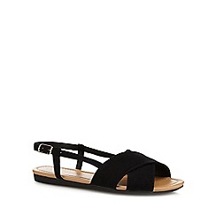 Red Herring - Black cross strap wide fit sandals
