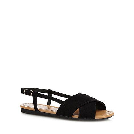 Red Herring - Black cross strap wide fit sandals