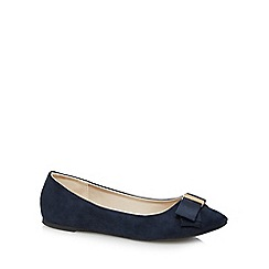 Red Herring - Navy bow appliqu  slip-on shoes