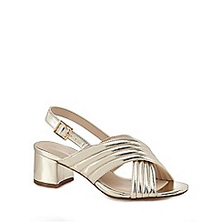 Red Herring - Gold 'Hilly' mid block heel ankle strap sandals