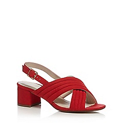 Red Herring - Red 'Hilly' mid block heel ankle strap sandals