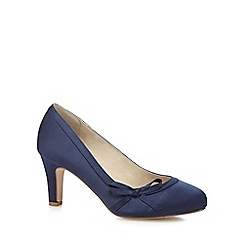 Debut - Navy satin mid heel wide fit court shoes
